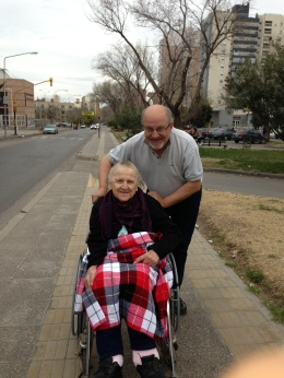 Carlos and his  Mom during one of his last visits to Neuquen, Argentina.